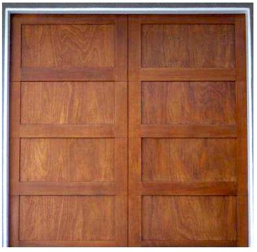 Aria - Contemporary Shaker Stile 4-Panel Wood Garage Doors - Aria - Contemporary Shaker Stile 4-Panel Wood Garage Doors For