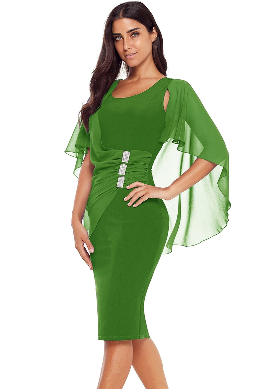 5d8d23b47c3e Robe Crayon Mi Longue Vert Taille Plis Strass Pas Cher www.modebuy.com