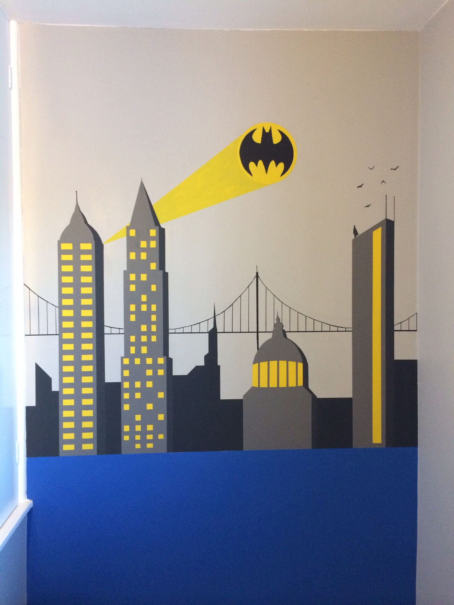Superman Themed Bedroom batman wall painting. superhero themed bedroom for my 5yr olds