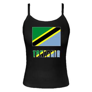 Tanzania Flag & Name Black Spaghetti Tank Top | Flags of Nations or Flagnation