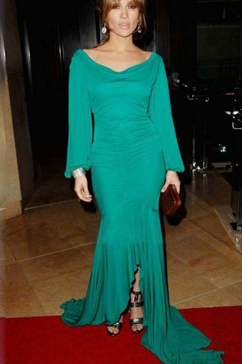 Jennifer Lopez Emerald Green Long Sleeve Prom Formal Evening Gown ...
