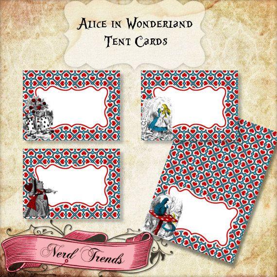 Alice in Wonderland Party Food Cards, Wonderland Food Tent - food sign up sheet template
