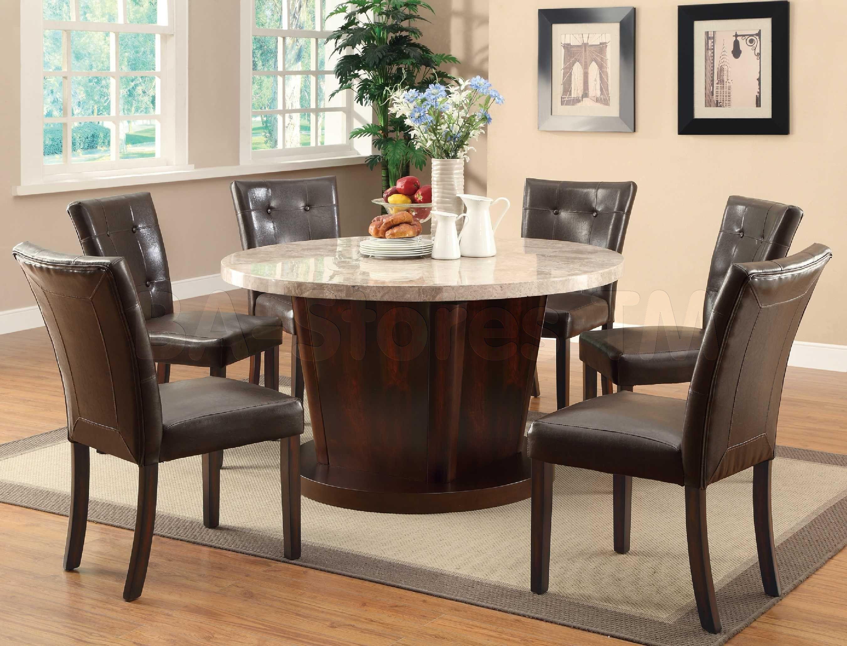 Furniture Best Mid Century Wooden Expandable Round Dining Room Table With Marble Top Dark Wooden Pedestal Dinin Ruang Makan Modern Meja Makan Meja Makan Modern