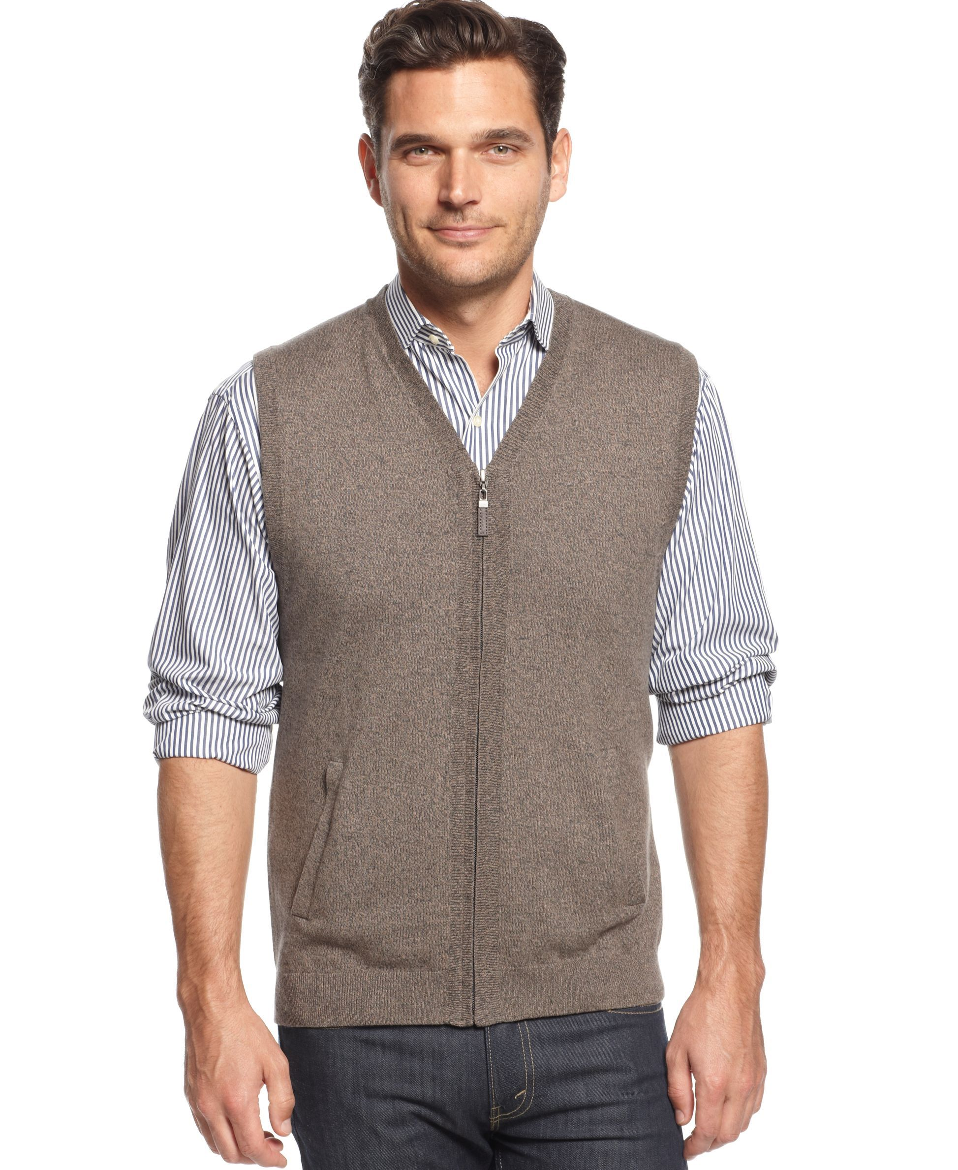 Tasso Elba Solid Full-Zip Sweater Vest | Products | Pinterest ...