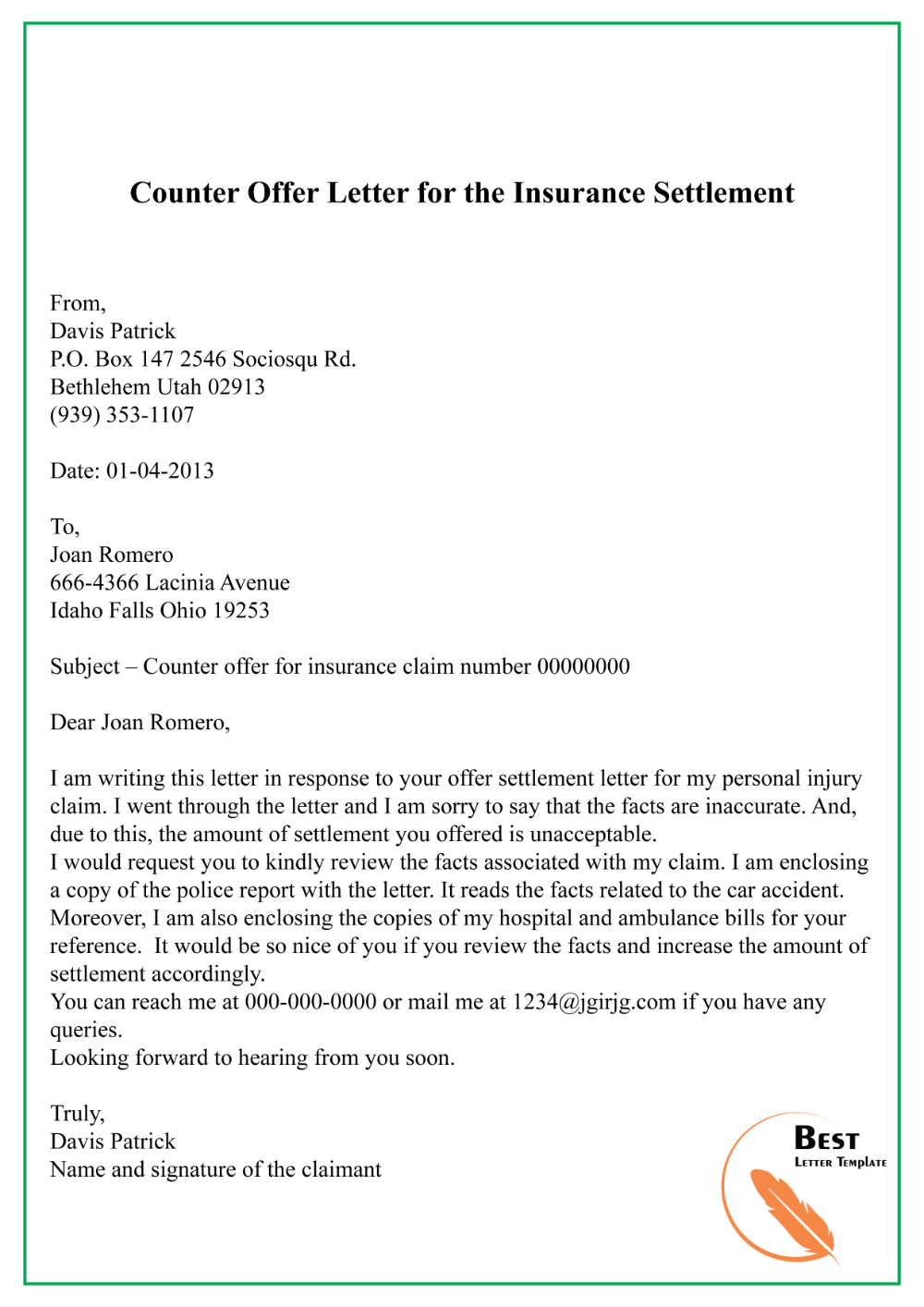 Counter Offer Letter For The Insurance Settlement Best Letter