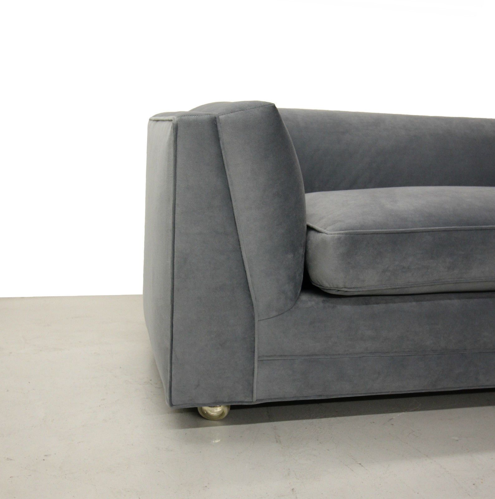 High Quality Huge Rare 10ft Mid Century Modern Long Low Sofa With Rounded Back Dunbar  Wormley