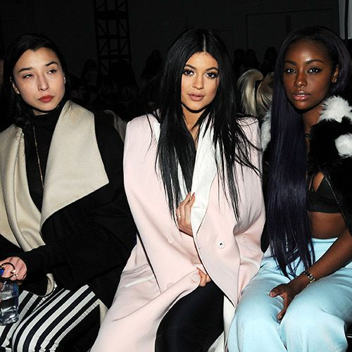 Kylie Jenner and Justine Skye. CELEBRITY FROW: AW15