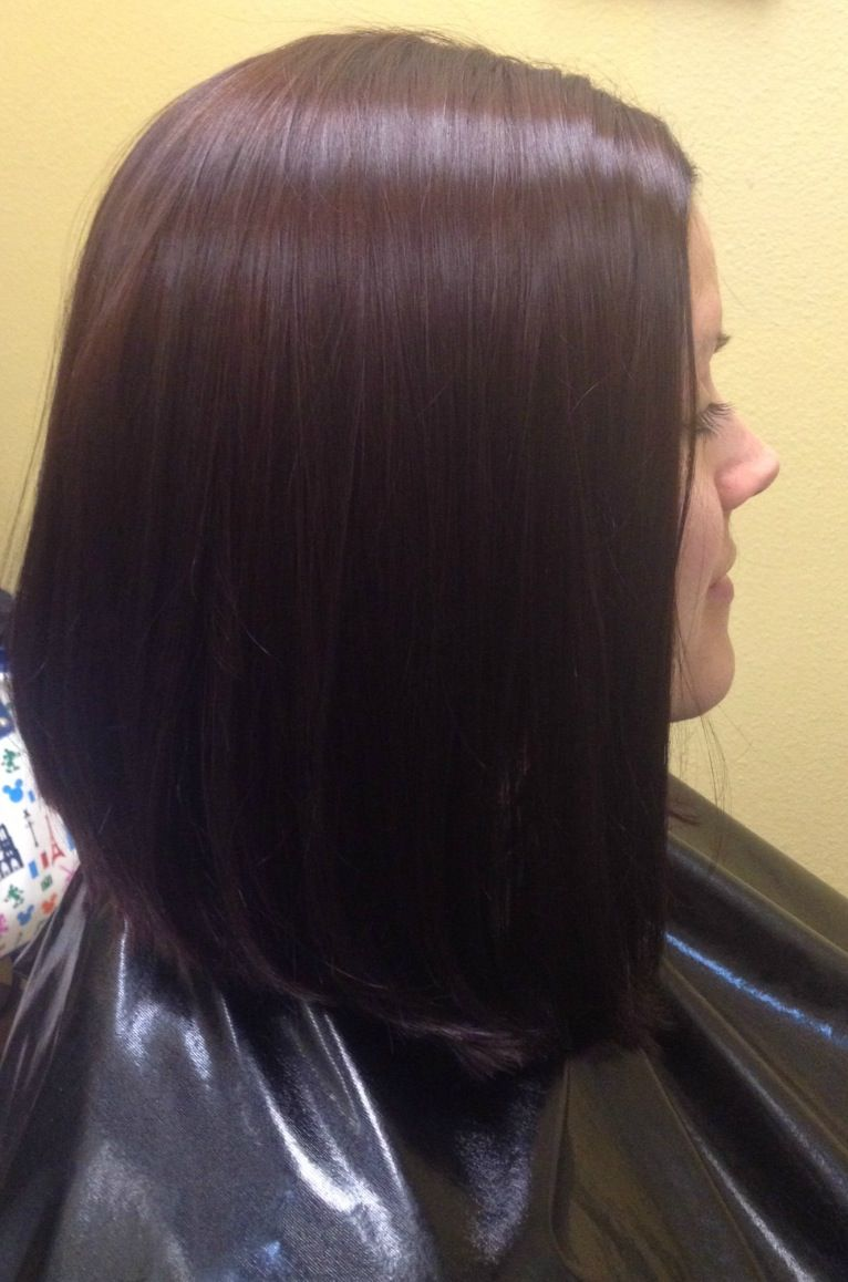 Long A Line Haircut With A Red Brown Color Salemoregonhairstylist