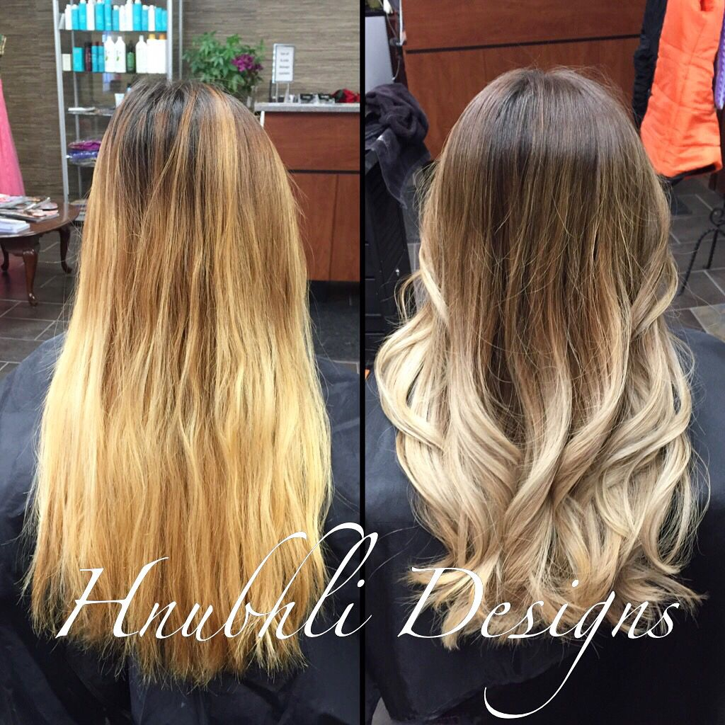 Brown To Ash Blonde Ombre I Did An Ombre On Steph S Hair A Few Months Ago The Toner Has Faded So Her Hair Was Very Faded Hair Color Faded Hair