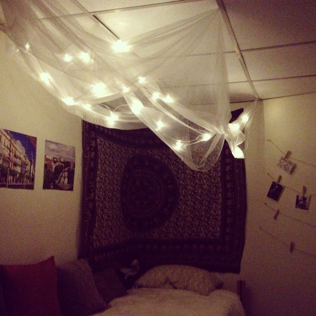 Diy bed canopy dorm - Diy Cozy For A Dorm Room Canopy Made Out Of Sheer Curtains From Ikea