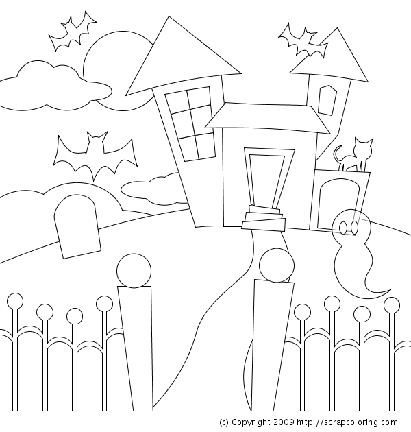 Haunted House coloring page for preschoolers - Enjoy Coloring | Jake ...