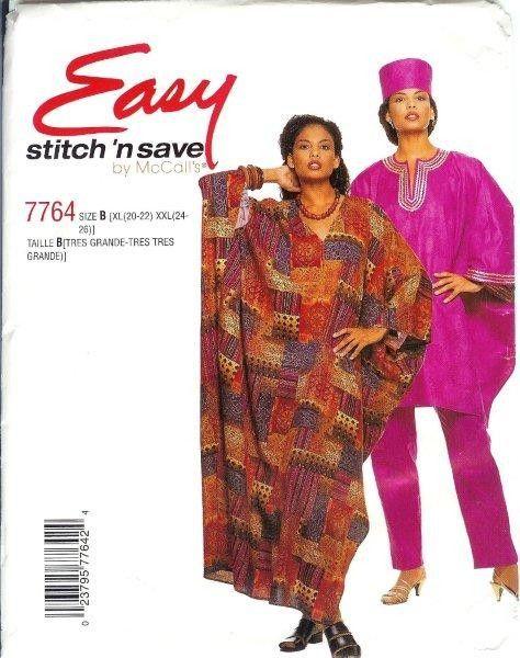 African Ethnic Costume Sewing Pattern Men Unisex Dashiki Robe Caftan ...