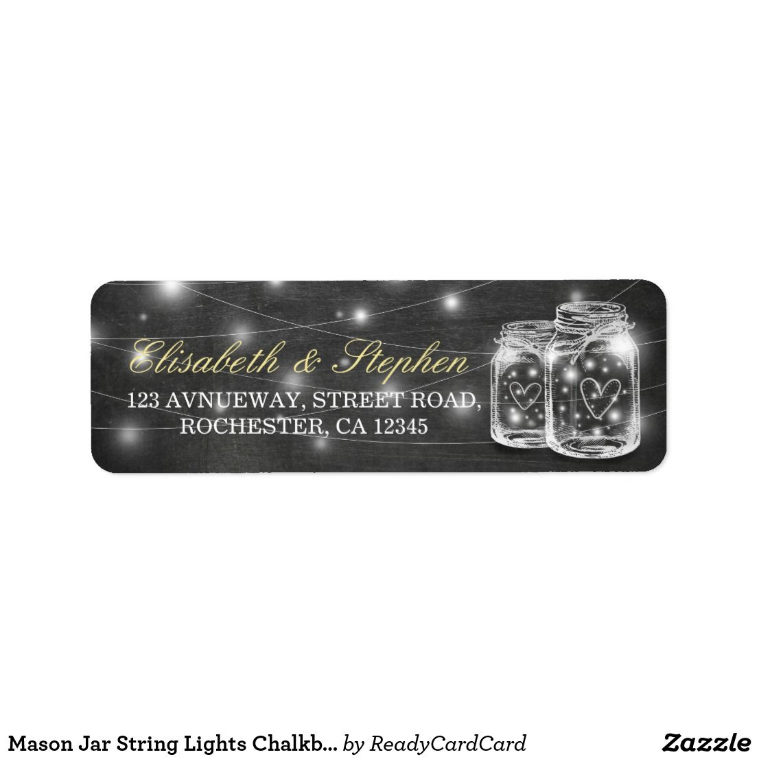 Mason Jar String Lights Chalkboard Wedding Address Label | Address ...
