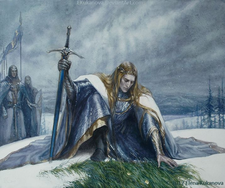Arafinwe (Finarfin) War of Wrath, Tol Sirion watercolor, this is an illustration for fan-novell by Eilian: Just under his feet, the grass was green and tough, despite all the December wind...