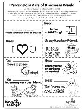 Random Acts Of Kindness 5 6 Coloring Pages For Kids Sprout Random Acts Of Kindness Sunday School Preschool Guidance Lessons