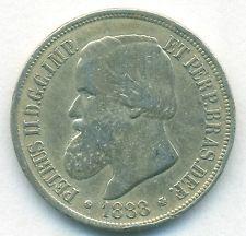 BRAZIL COIN 1000 REIS 1888 SILVER KM# 481 VF