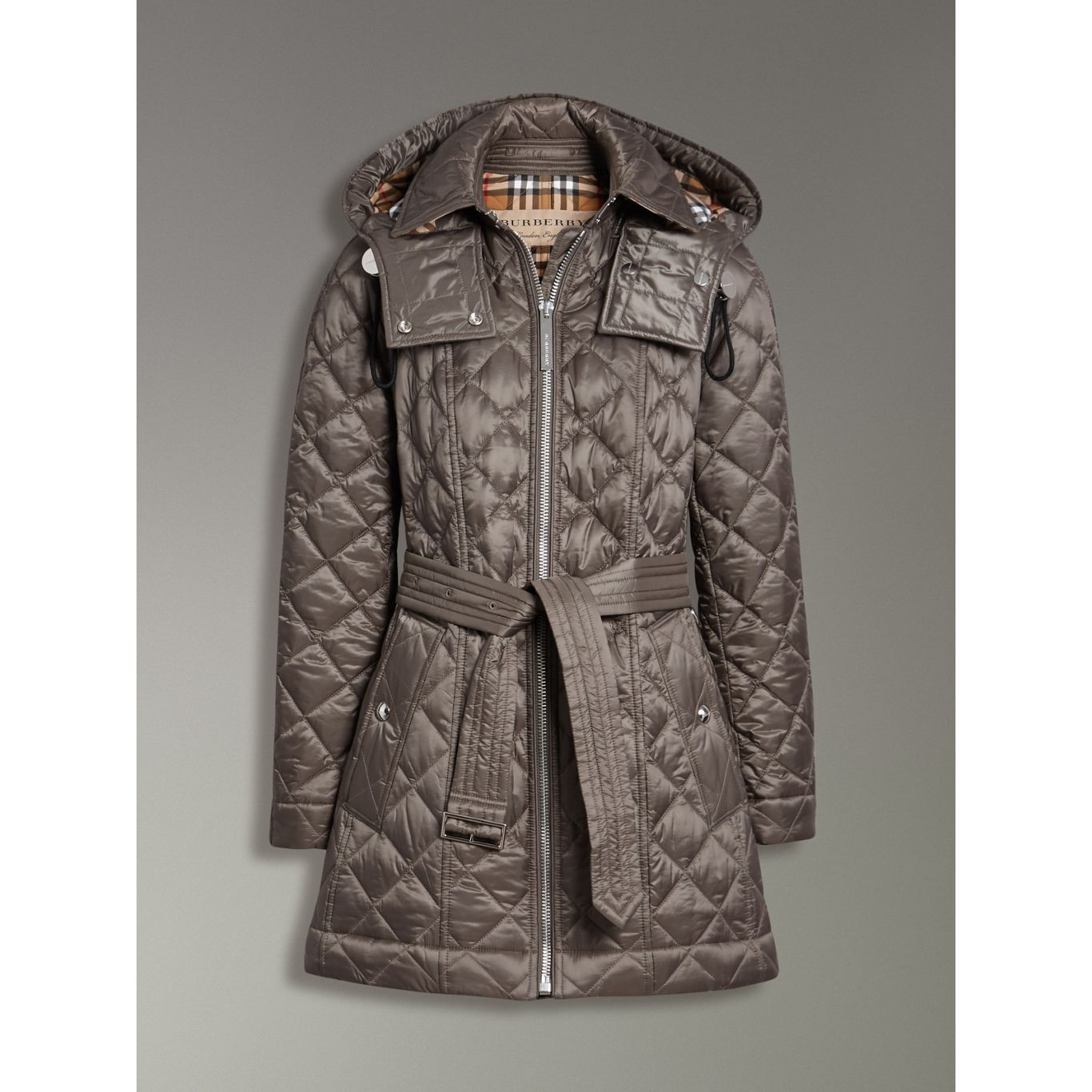 detachable hood lightweight diamond quilted coat