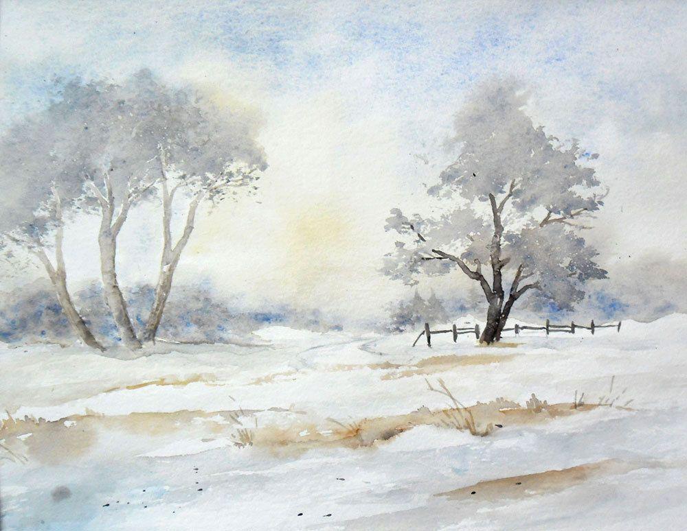 Winterimpressionen Aquarell Original 24 X 32 Cm