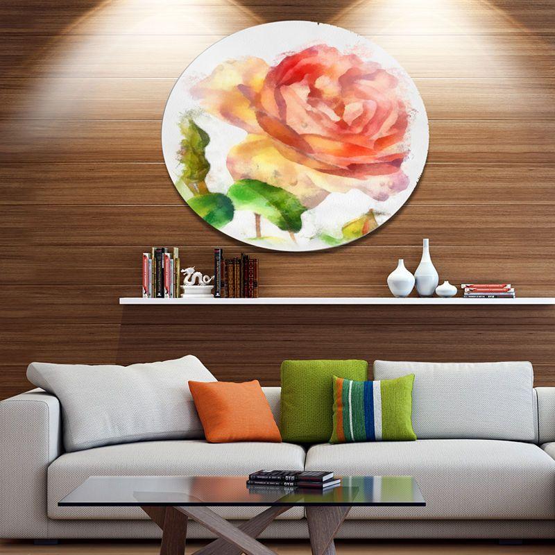 Designart Bloomy Red Rose Watercolor Drawing Floral Metal