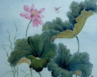 Estanque de lotos y lib lula china pincel acuarela pintura for Pintura para estanques