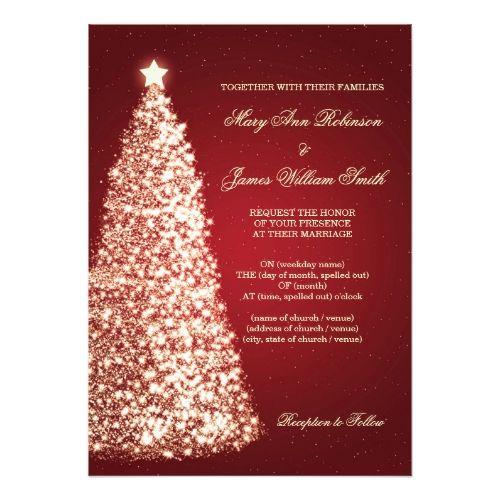 Elegant Christmas Wedding Sparkle Gold Red Invitation