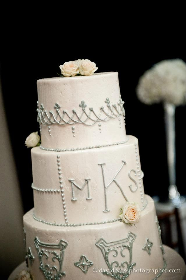 White monogrammed wedding cake by Le Cookie