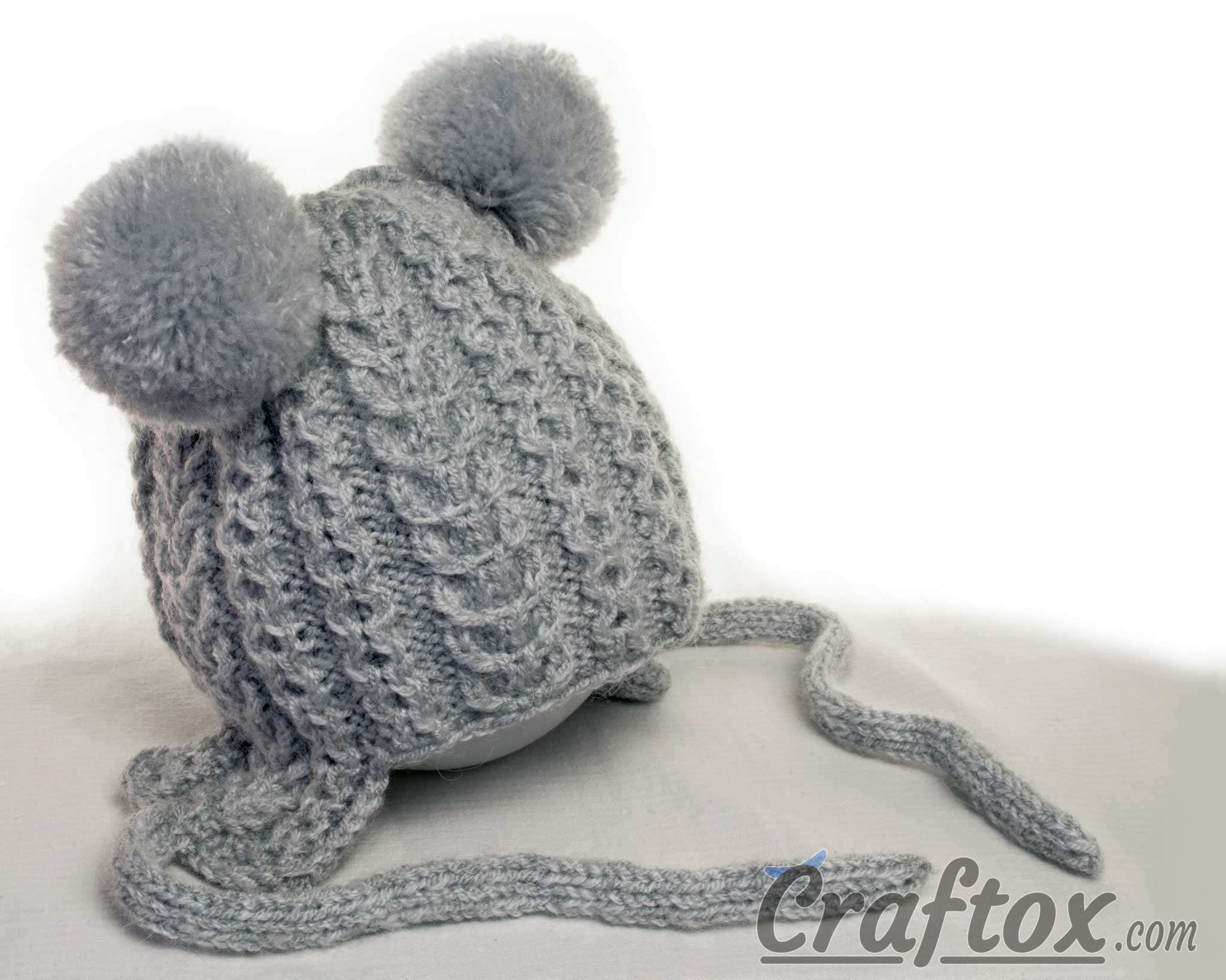 Knitting winter hat with pom poms for kid. Free pattern | Knitting ...