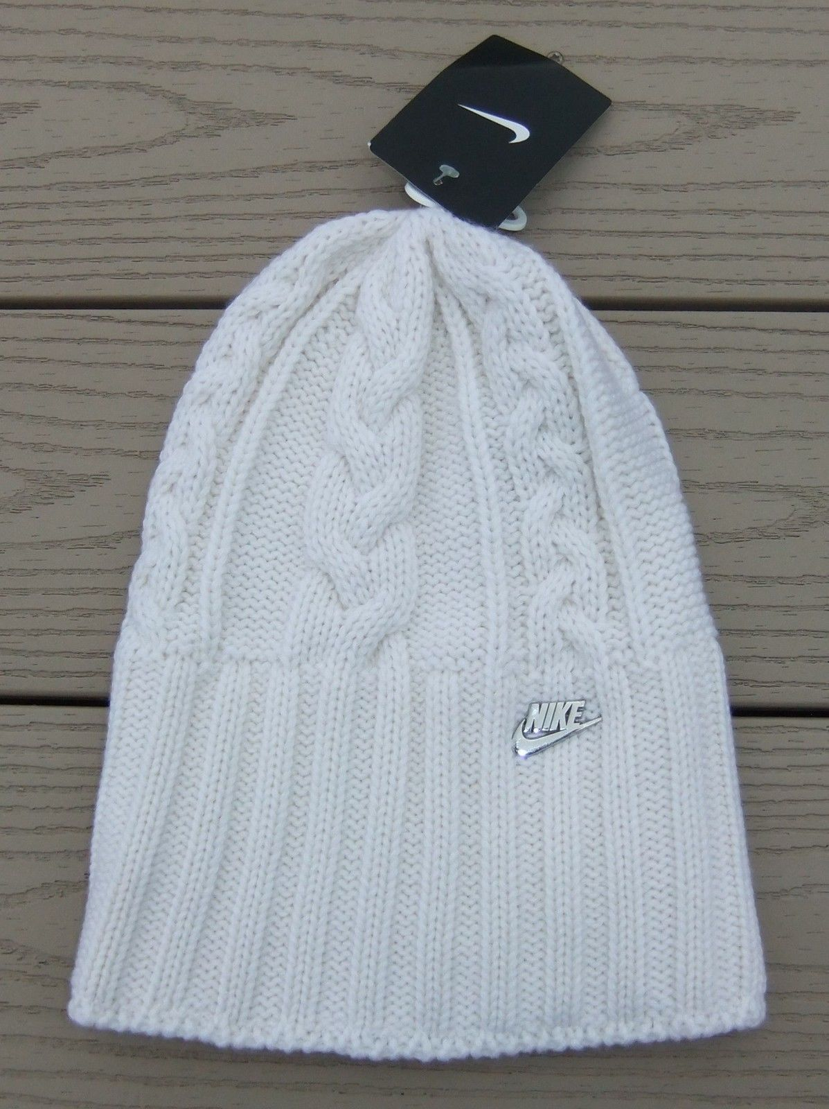 c29b88c0f Details about NWT NIKE Cable Knit Womens Fleece Lined Beanie Hat ...