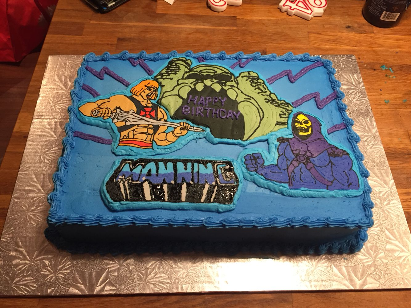 Heman And Skeletor MOTU Birthday Cake With Frozen Buttercream Icing Transfer