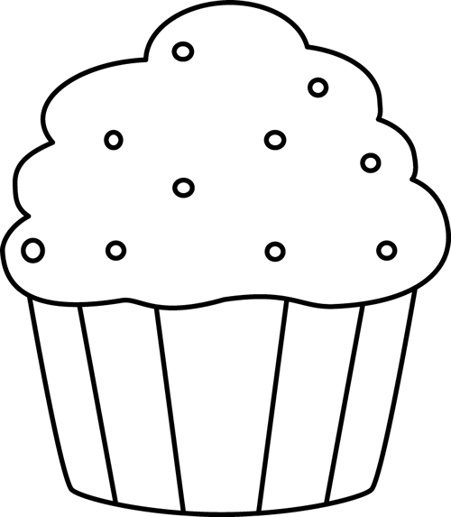 Black and White Cupcake with Sprinkles | Coloring- Food- Yiyecek ...