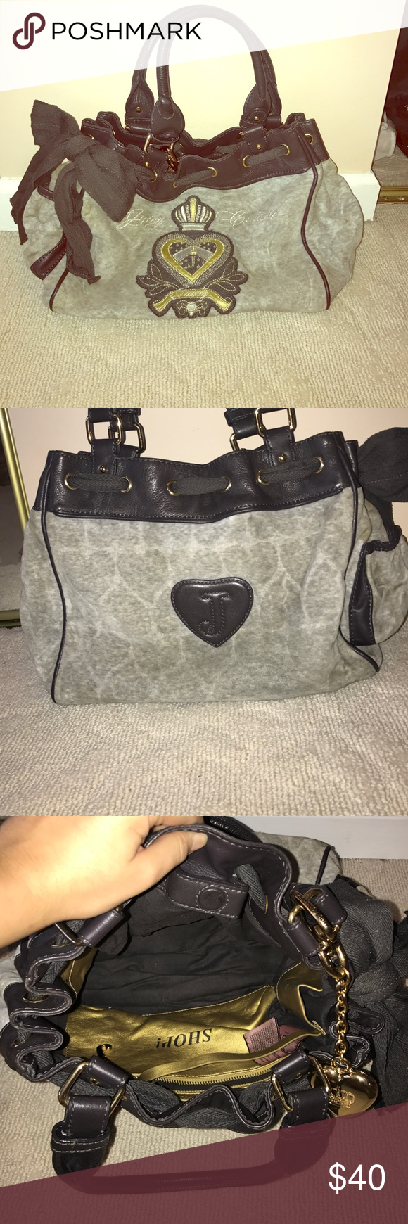 Juicy couture velour purse Gray, medium sized velour material, perfect for winter. Day dreamer bag Juicy Couture Bags Shoulder Bags