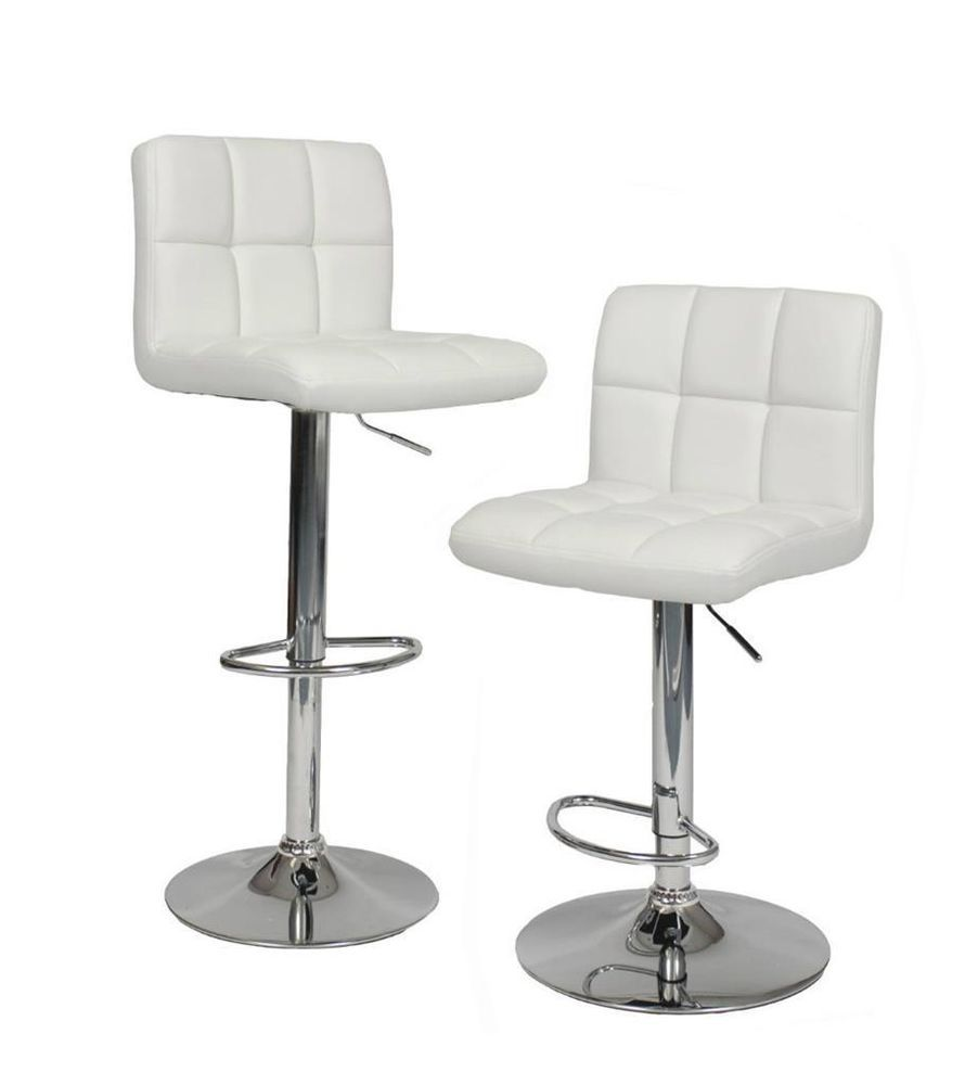 White Leather Bar Stools Swivel Chair Hydraulic Set Of Of
