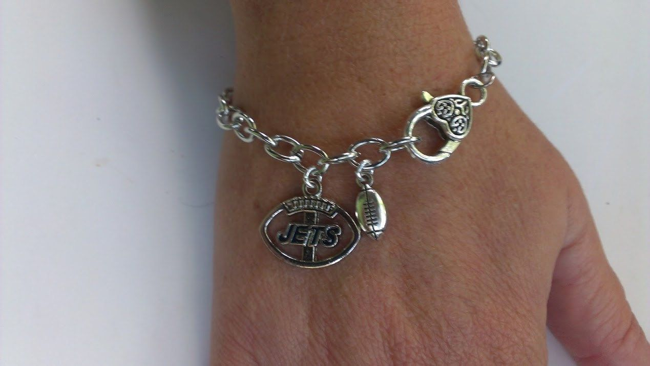 New  York Jets football on  silver chain link bracelet  ! New York Jets bracelet by Bmariescreations on Etsy