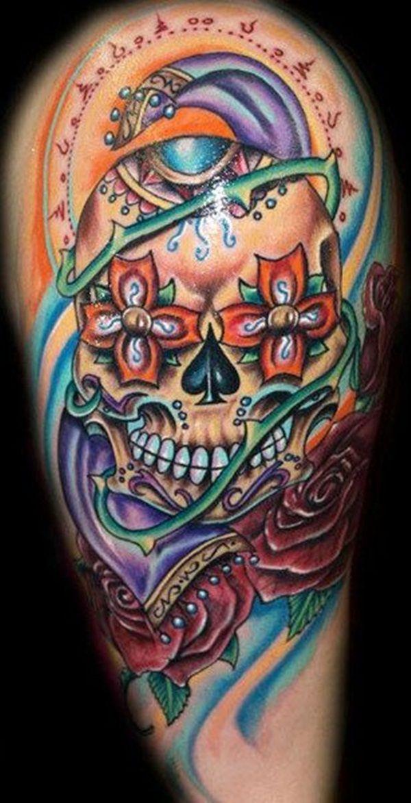 40 Sugar Skull Tattoo Meaning & Designs Sugar skull
