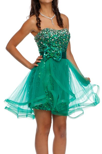 #720 Fully sequins short dress with removable ruffle skirt. Available in emerald green, royal blue and black.