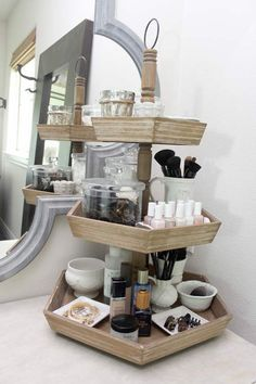 Bathroom Counter Makeup Organizer. Three Tiered Makeup Holder