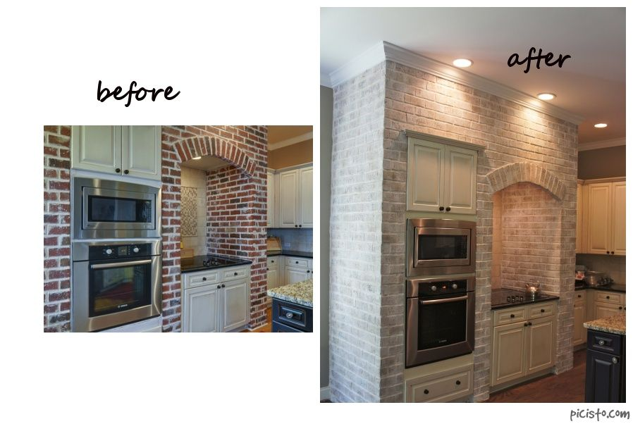 Painting Interior Brick Fireplace: Painted Cabinets Nashville TN Before And After Photos