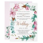 Photo of Modern spring pink mint magnolia wreath wedding invitation | Zazzle.com