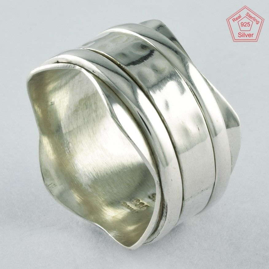Sz 7.5 US, PLAIN SILVER SMART 925 STERLING SILVER SPINNER RING, R4409 #SilvexImagesIndiaPvtLtd #Spinner #AllOccasions