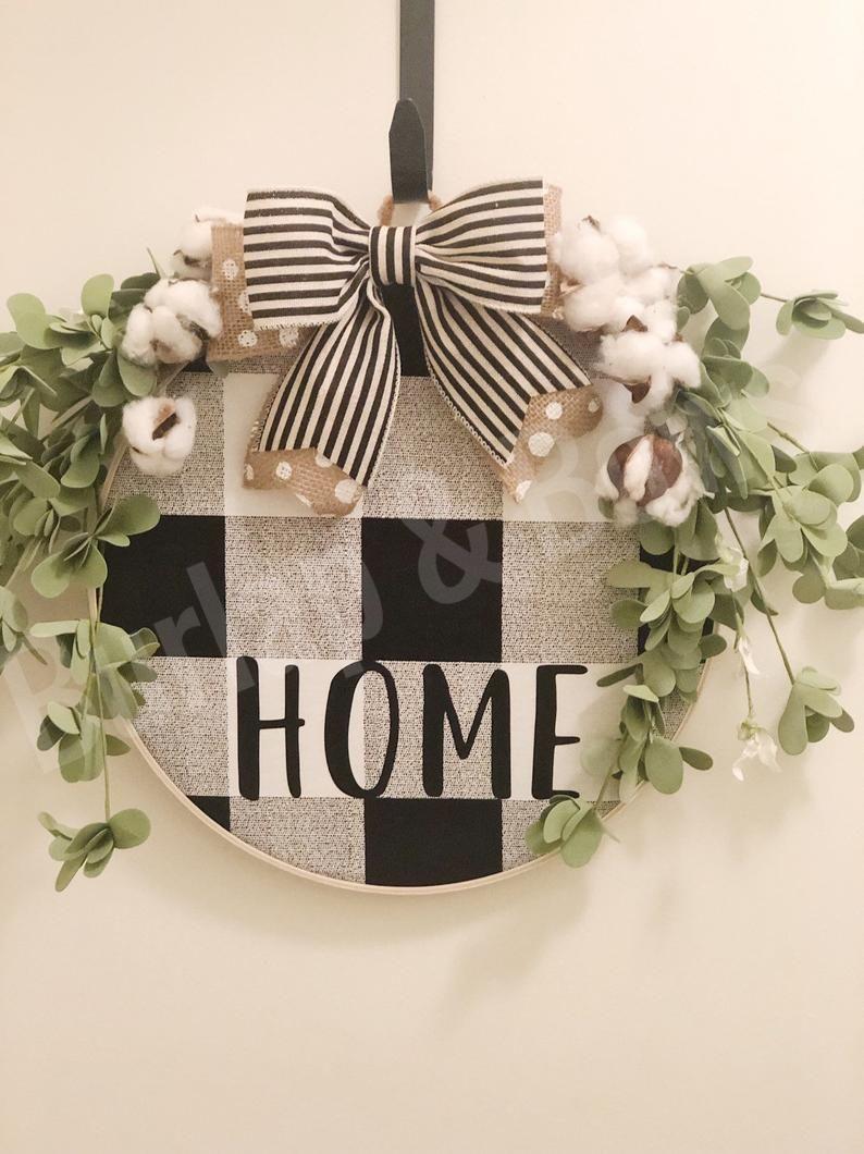 Photo of Farmhouse wreath, hoop wreath, farmhouse decor, welcome wreath, buffalo plaid wreath