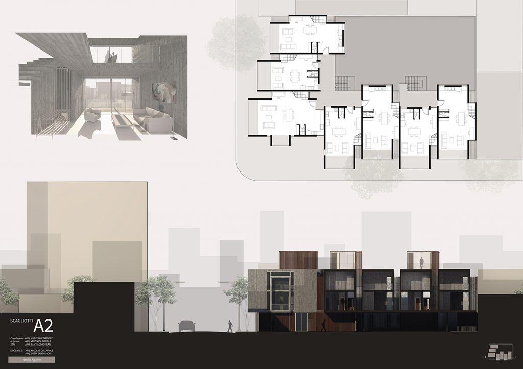 El conjunto de viviendas con talleres para artistas se encuentra implantado en el barrio porteño de Chacarita y su desarrollo proyectual se realizó en base a las condiciones observadas en el mismo.