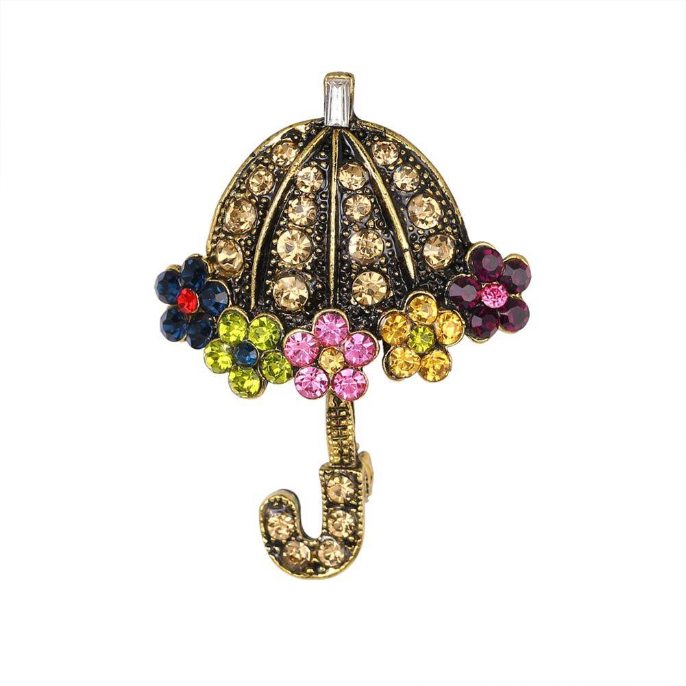 New Design Rhinestone Crystal Umbrella Brooch Decorative Garment  Accessories Wedding Bridal Brooch Pin Cute Party Gift
