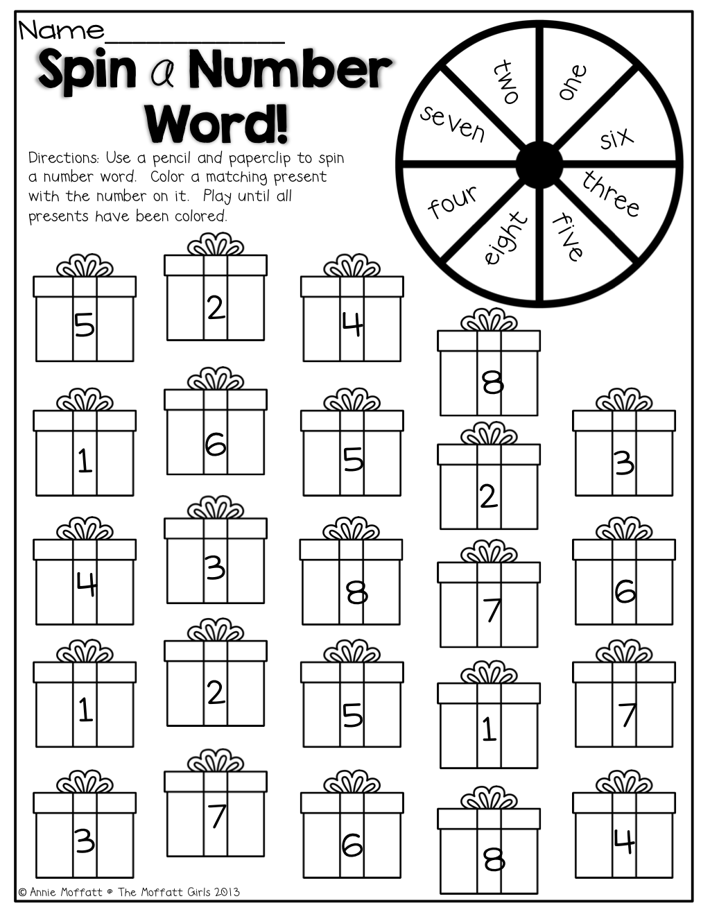 Spin A Number Word And Color A Present