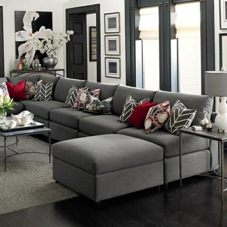 Wohnzimmer ideen rot grau  Wohnzimmer Grau Braun Elegantes Wohnzimmer Grau Rote Dekokissen Deko ...