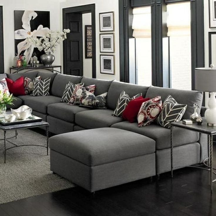 Perfekt Wohnzimmer Grau Braun Elegantes Wohnzimmer Grau Rote Dekokissen Deko Kissen  Wohnzimmer