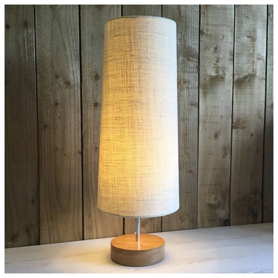 Our Superb Lamp Bases Are Handcrafted In Bristol From Iroko Wood And Comes Complete With Our Handmade Conical Shade In Cream Hessian The Combined Height O Lampu