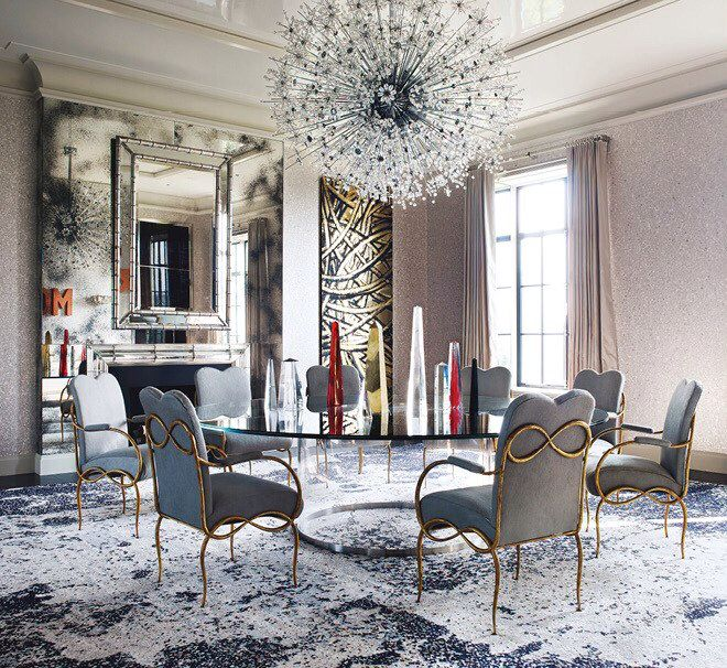 New York Apartment. Luxe pendent, dining chairs, distressed flooring and shimmering wallpaper are a few of my faves here.
