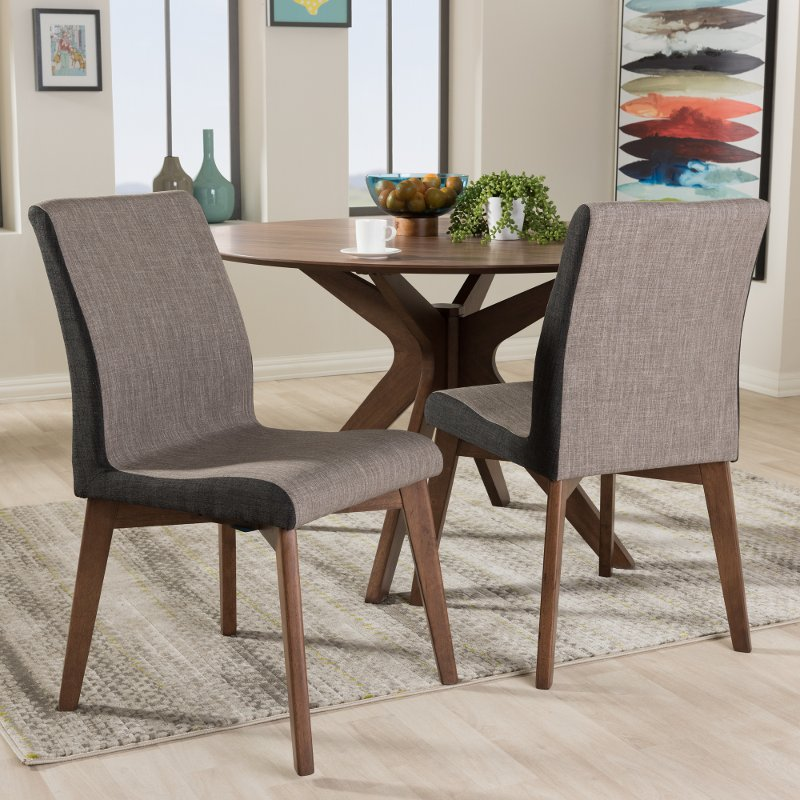 Set Of 2 Mid Century Modern Brown Dining Room Chairs Kimberly