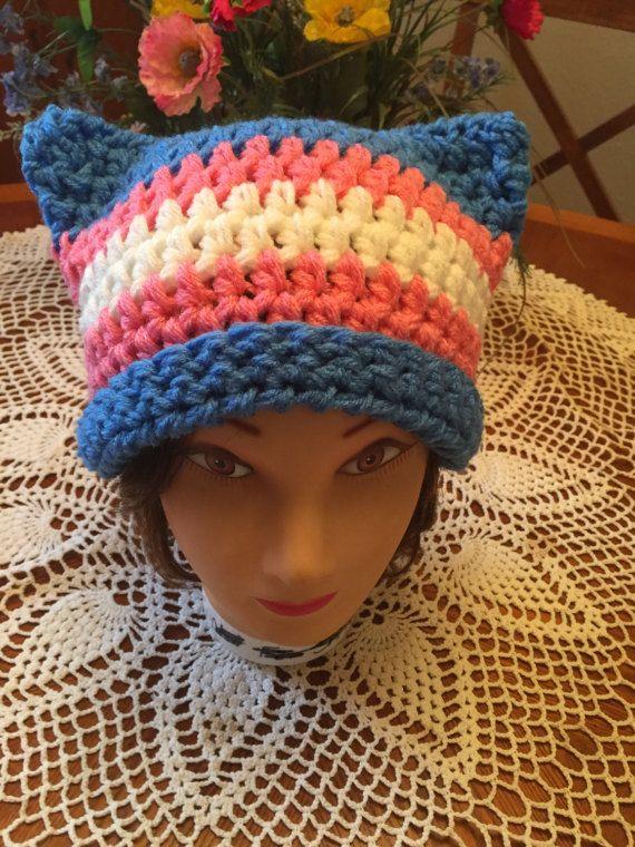 Transgender Pride Cat Crochet Beanie Toque Hat