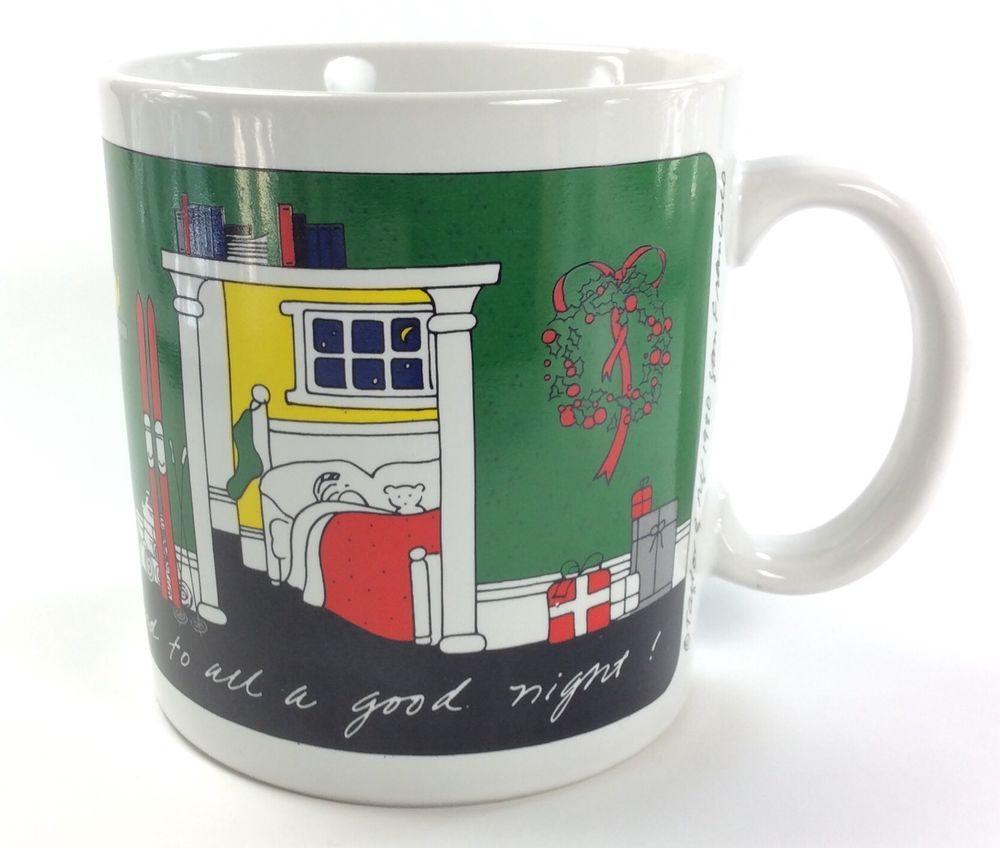 Night Before Christmas Coffee Mug TAYLOR U0026 NG 1980 Joyous Noel Tree Skis  Home